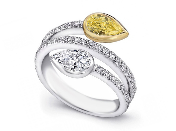 Duo Pear Shape White & Yellow Diamonds Engagement Ring