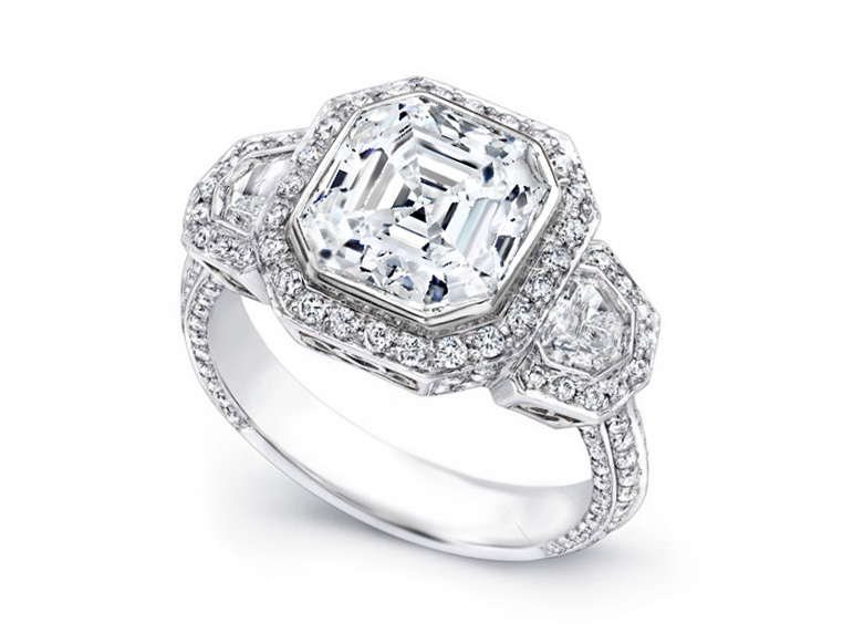 Large Asscher Cut Diamond Shield Halo Engagement Ring in Platinum