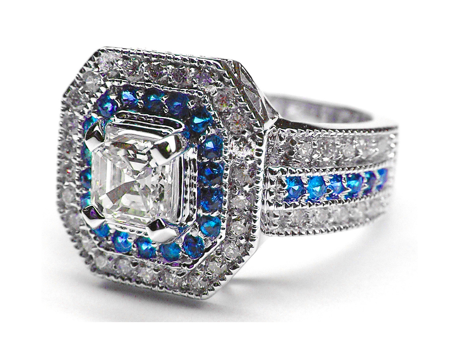 Square Halo Diamonds & Blue Sapphires  Asscher Cut Engagement Ring 0.45 tcw. In 14K White Gold
