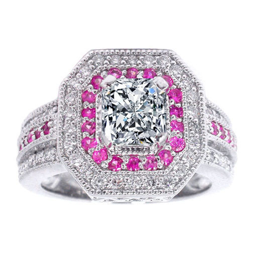 Square Halo diamonds & Pink Sapphires  Engagement Ring 0.45 tcw. In 14K White Gold