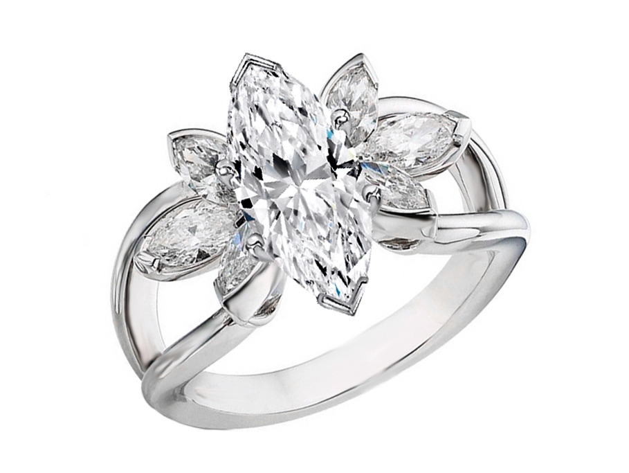 Water Lily Marquise Diamond Ring  0.59 tcw in 14K White Gold