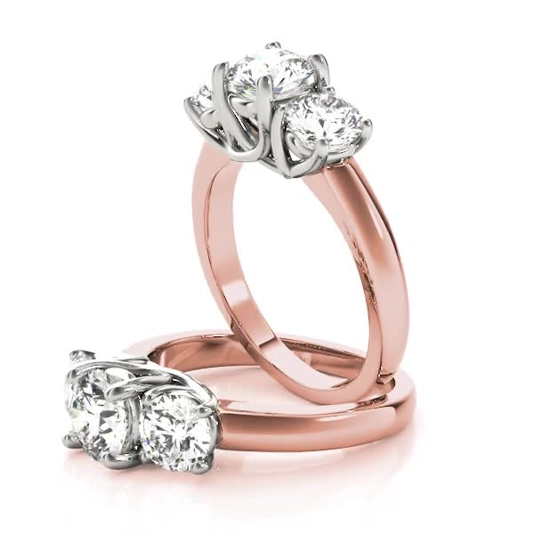 Two-Tone Three Stone Trellis Diamond Engagement Ring Low Set