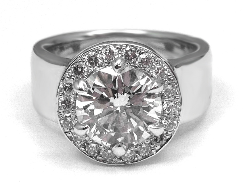Engagement Ring Wide Band Diamond Halo Engagement Ring in 14k