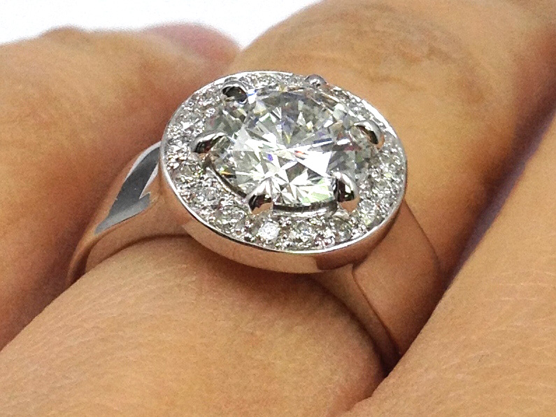 engagement ring wide band halo engagement ring in