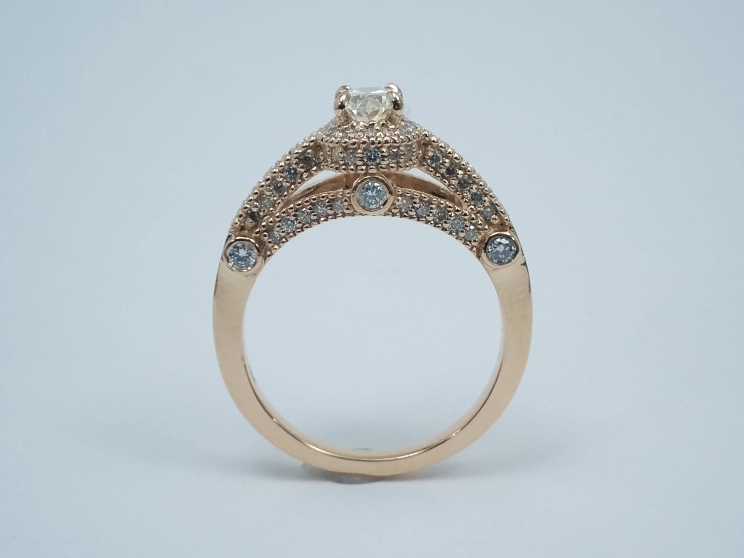 Oval Diamond Legacy Style Engagement Ring In Rose Gold