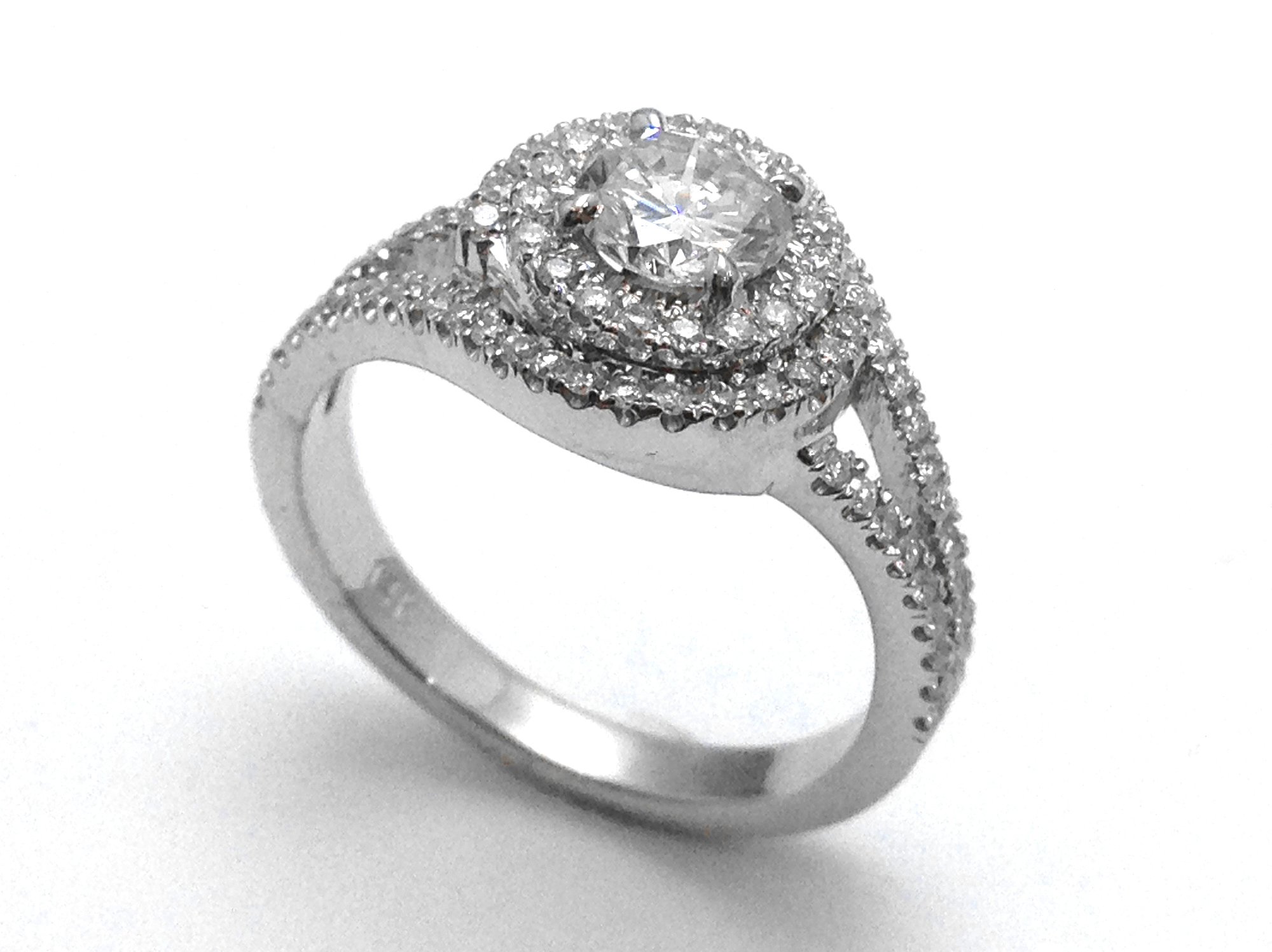 Double Swirl Diamond Engagement Ring in 14K White Gold
