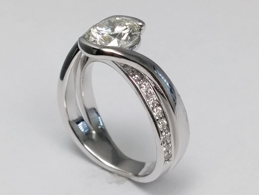 Engagement Ring Semi Bezel Swirl Diamond Engagement Ring In 14k White  Goldes1271