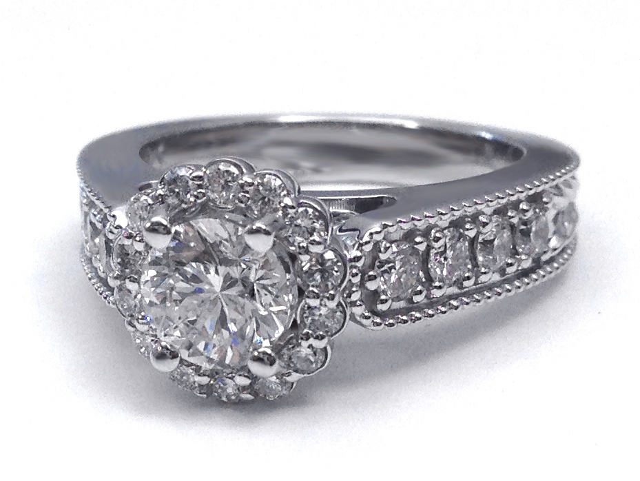 Engagement Ring Diamond Floral Halo Engagement Ring ES1279BR