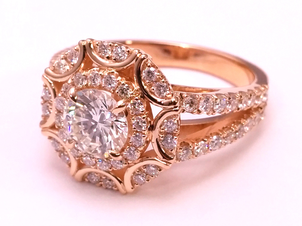 Engagement Ring Victorian Halo Double Band Diamond Engagement