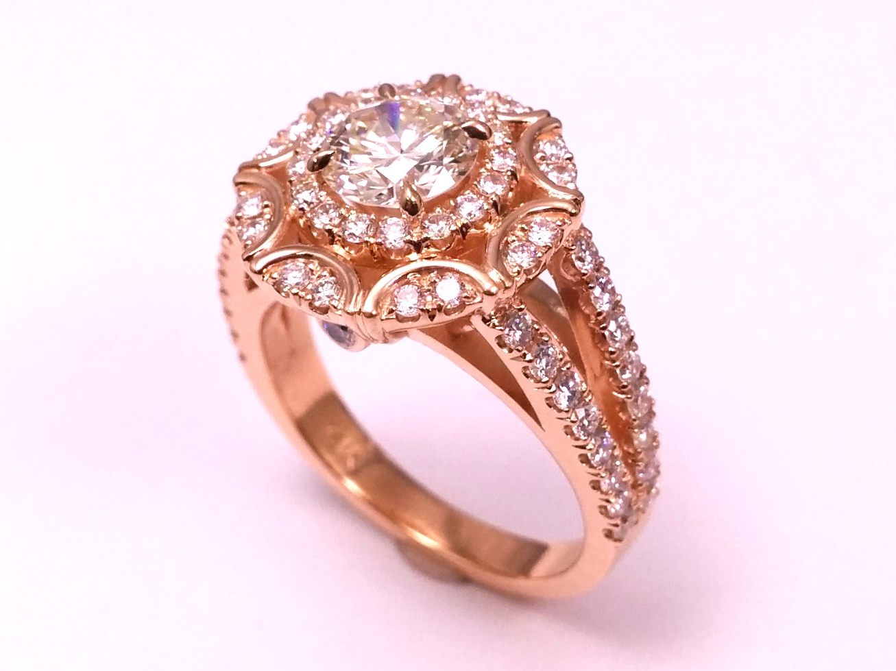 Engagement Ring -Victorian Halo Double Band Diamond Engagement Ring ...