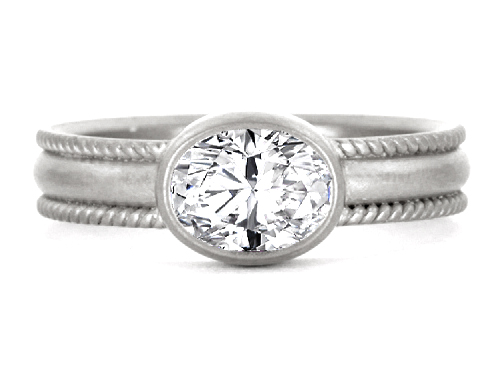 Duo Rope Oval Cut Diamond Bezel Engagement Ring in 14 Karat White Gold
