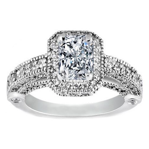 Radiant Cut Diamond Legacy Style Engagement Ring in 14K White Gold 1.05 tcw.