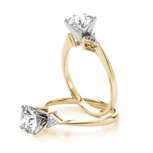 Three Stone Classic Trillion Engagement Ring - 4x4mm Yellow Gold