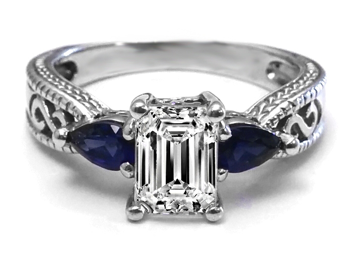 Emerald Cut Diamond Filigree Engagement Ring Blue Sapphire Side Stones
