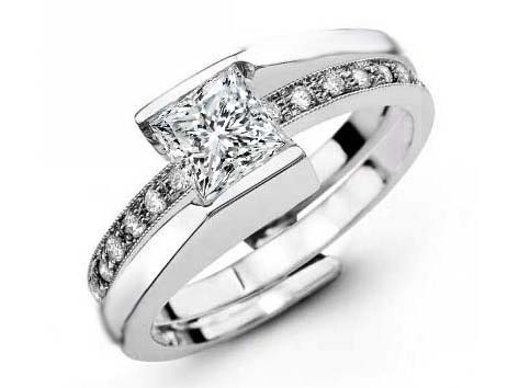 Princess Diamond Intertwined Bridal Set in 14K White Gold