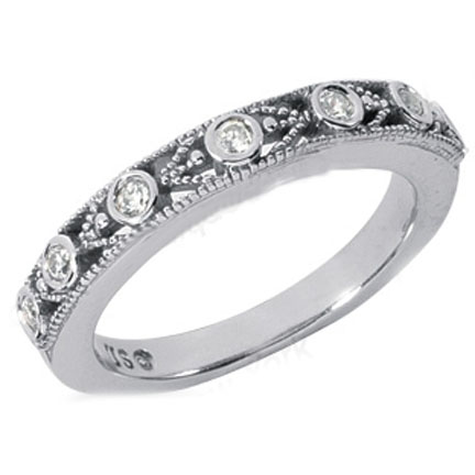 Seven Stone Round Diamond Wedding Band 0.14 tcw. In 14K White Gold