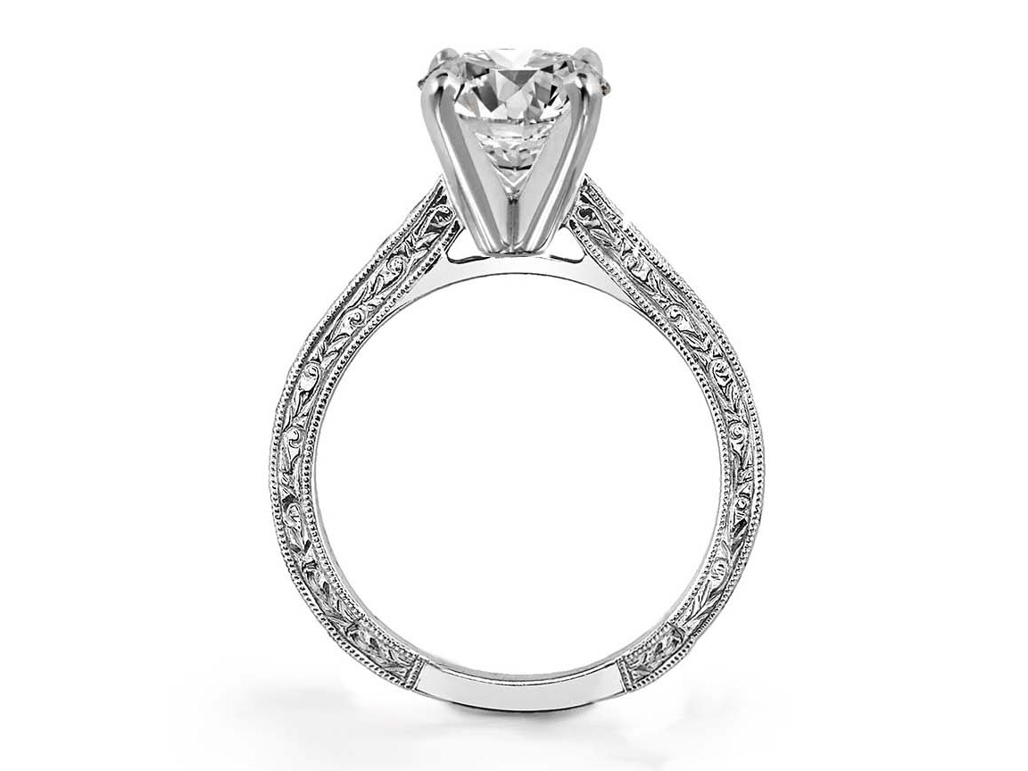 Oval Diamond Engagement Ring Graduated Diamond Band  0.62 TCW Hand Engraved in 14K White Gold