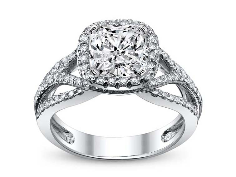 Criss-Cross Cushion Diamond Halo Engagement Ring in 14K White Gold