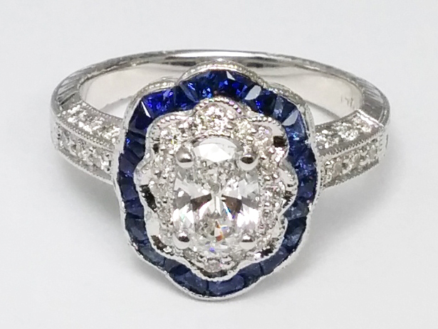Oval Diamond Blue Halo Vintage Engagement Ring