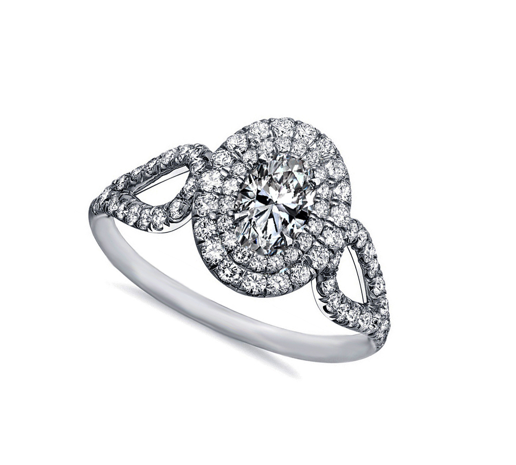 Double Halo Oval Diamond Loupe Engagement Ring in 14k White Gold, 0.69 tcw.