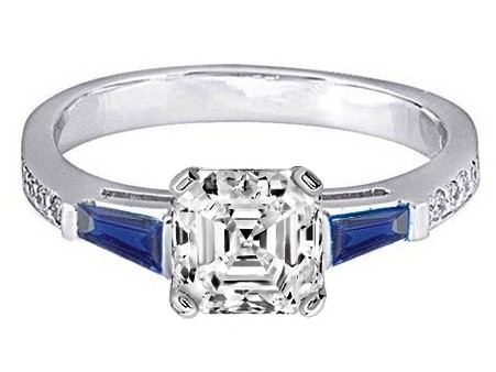 Asscher Engagement Ring Blue Sapphire & Diamonds accents 0.44 tcw. In 14K White Gold