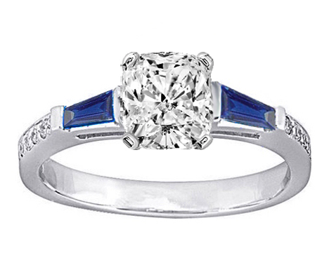 Cushion Engagement Ring Blue Sapphire & Diamonds accents 0.64 tcw. In 14K White Gold
