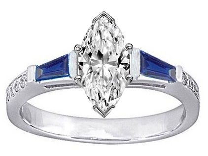 Marquise Engagement Ring Blue Sapphire & Diamonds accents 0.64 tcw. In 14K White Gold