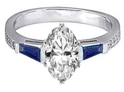Oval Engagement Ring Blue Sapphire & Diamonds accents 0.44 tcw. In 14K White Gold