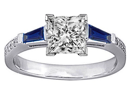 Princess Engagement Ring Blue Sapphire & Diamonds accents 0.44 tcw.