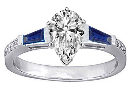 Pear Engagement Ring Blue Sapphire & Diamonds accents 0.64 tcw. In 14K White Gold