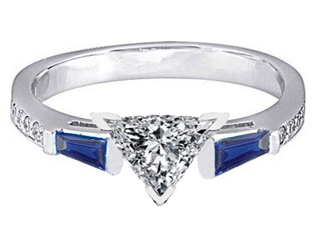 Trillion Engagement Ring Blue Sapphire & Diamonds accents 0.64 tcw. In 14K White Gold