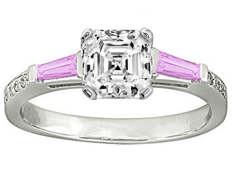 Asscher Engagement Ring Pink Sapphire & Diamonds accents 0.64 tcw. In 14K White Gold