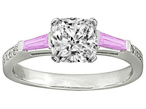 Cushion Engagement Ring Pink Sapphire & Diamonds accents 0.64 tcw. In 14K White Gold
