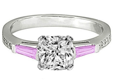 Cushion Engagement Ring Pink Sapphire & Diamonds accents 0.44 tcw. In 14K White Gold