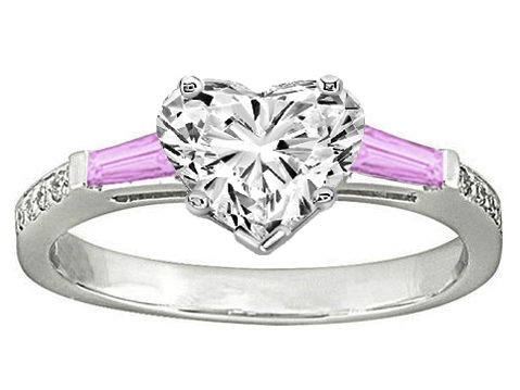 Heart Engagement Ring Pink Sapphire & Diamonds accents 0.64 tcw. In 14K White Gold