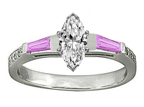 Marquise Engagement Ring Pink Sapphire & Diamonds accents 0.64 tcw. In 14K White Gold