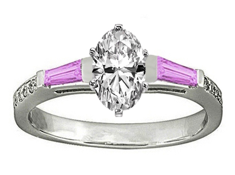 Oval Engagement Ring Pink Sapphire & Diamonds accents 0.64 tcw. In 14K White Gold