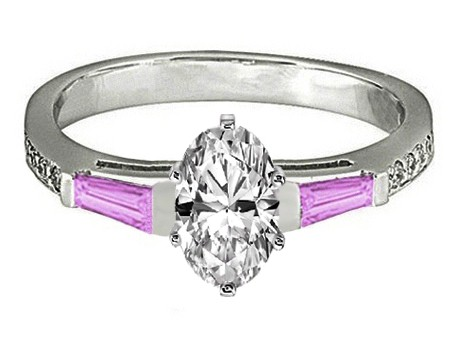 Oval Engagement Ring Pink Sapphire & Diamonds accents 0.44 tcw. In 14K White Gold