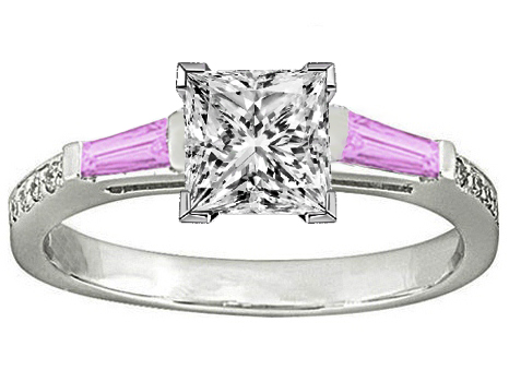 Princess Engagement Ring Pink Sapphire & Diamonds accents 0.64 tcw. In 14K White Gold