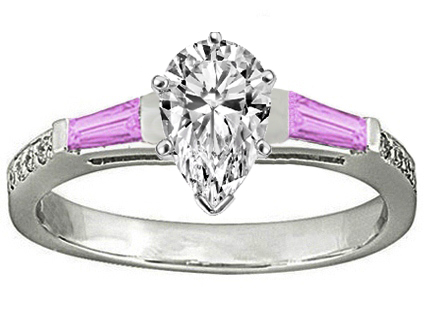 Pear Engagement Ring Pink Sapphire & Diamonds accents 0.64 tcw. In 14K White Gold