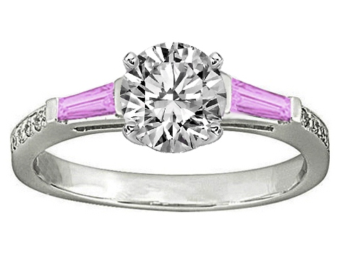 Pink Sapphire Baguettes and Diamonds Engagement Ring 0.64 tcw. In 14K White Gold