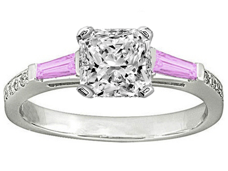 Radiant Engagement Ring Pink Sapphire & Diamonds accents 0.64 tcw. In 14K White Gold