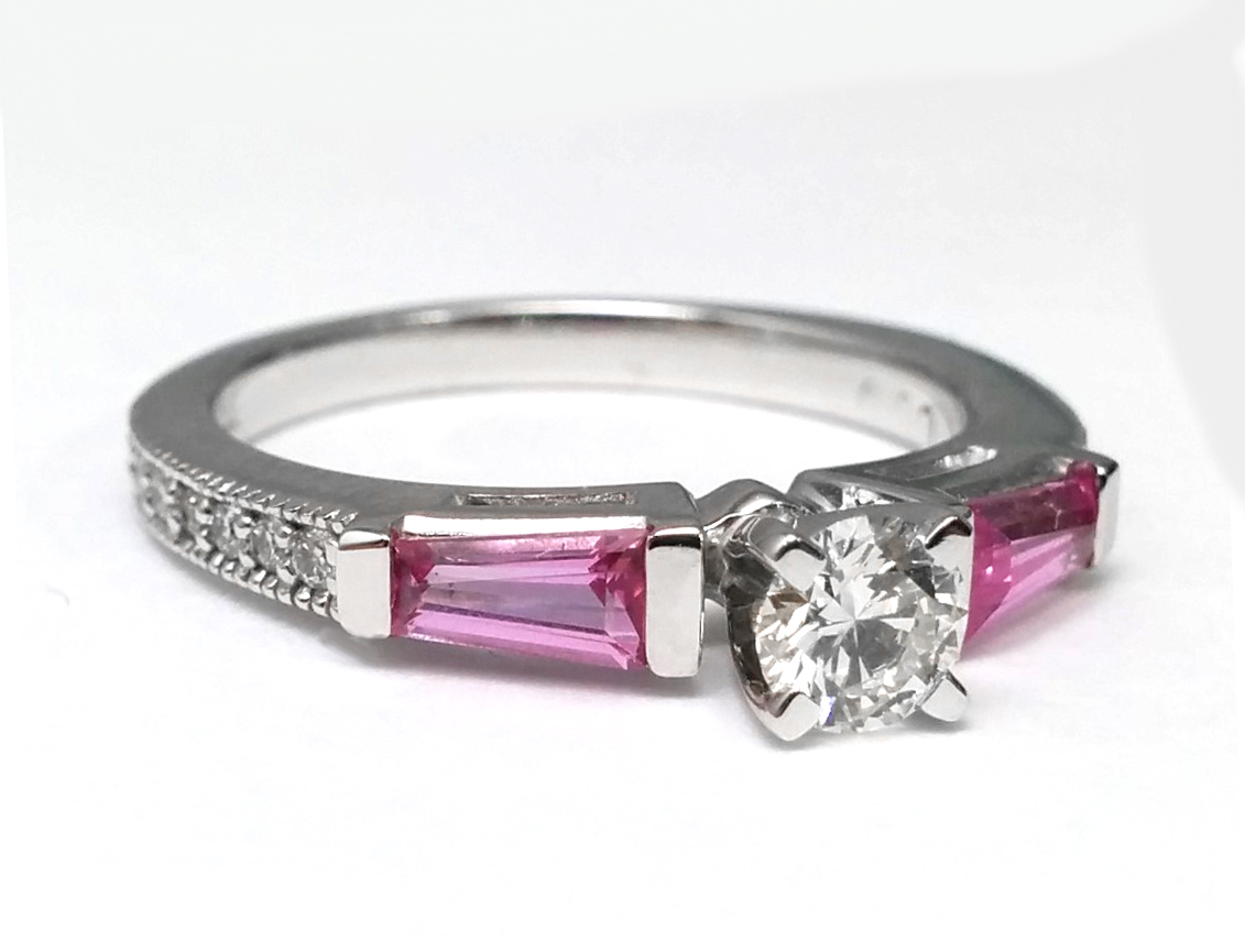 Pink Sapphire Baguettes and Diamonds Engagement Ring 0.44 tcw. In 14K White Gold