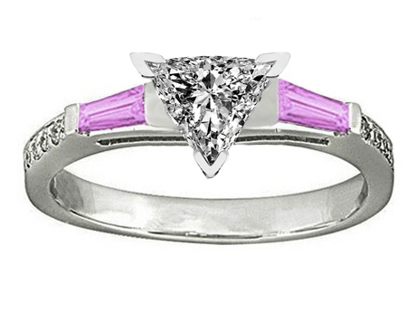 Trillion Engagement Ring Pink Sapphire & Diamonds accents 0.64 tcw. In 14K White Gold