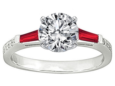 Red Ruby Baguettes and Round Diamonds Engagement Ring Setting 0.44 tcw. In 14K White Gold