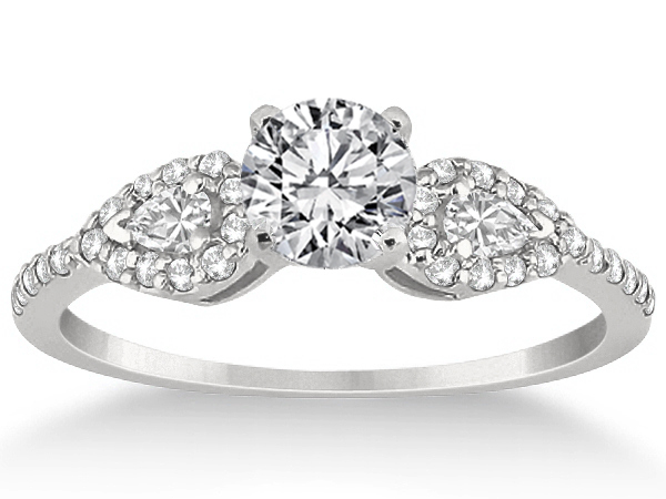 Diamond Engagement Ring Halo Pear Sides & Wrap Wedding Band