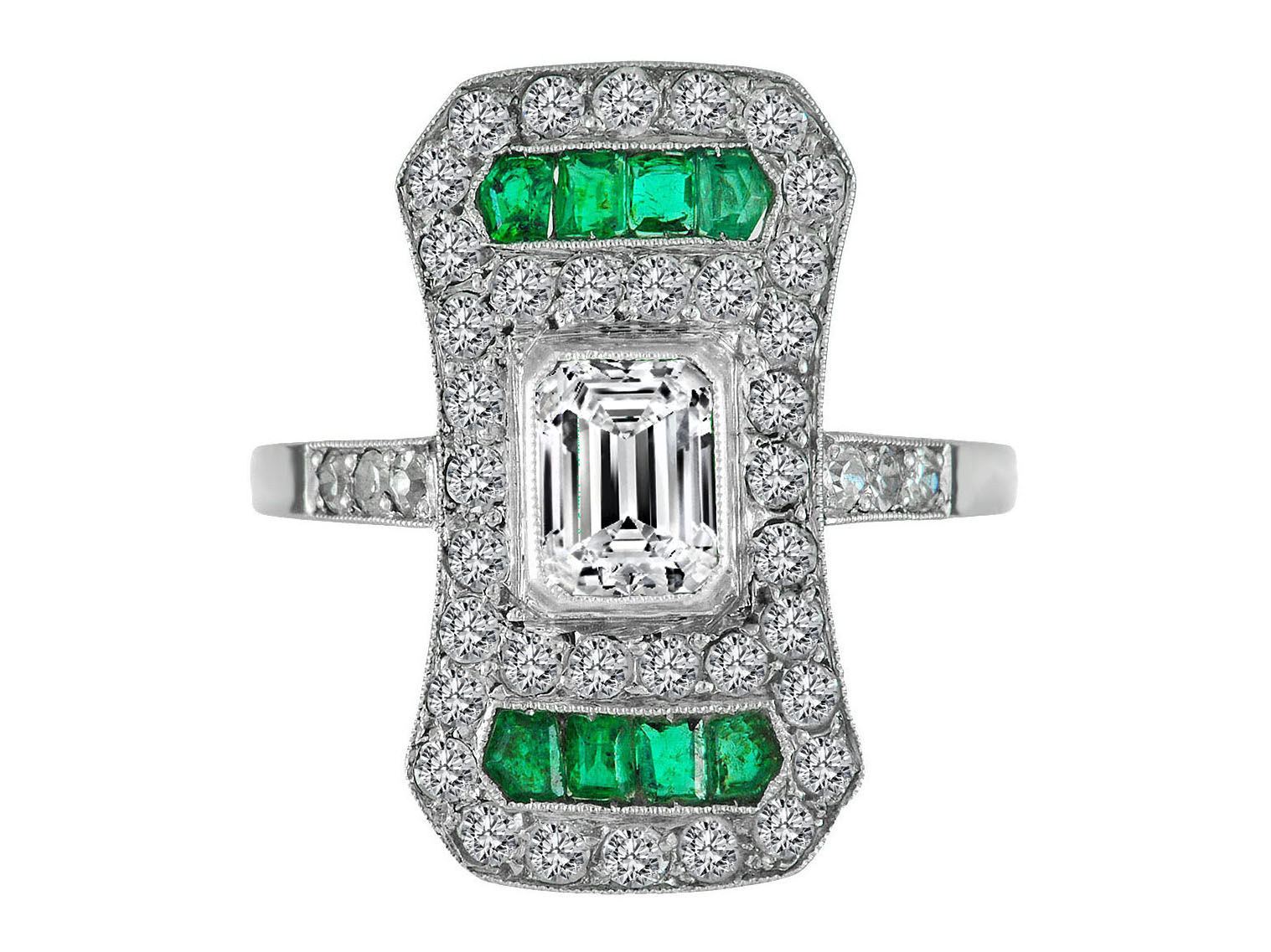 Emerald Cut Diamond Art-Deco Engagement Ring in 14K white Gold