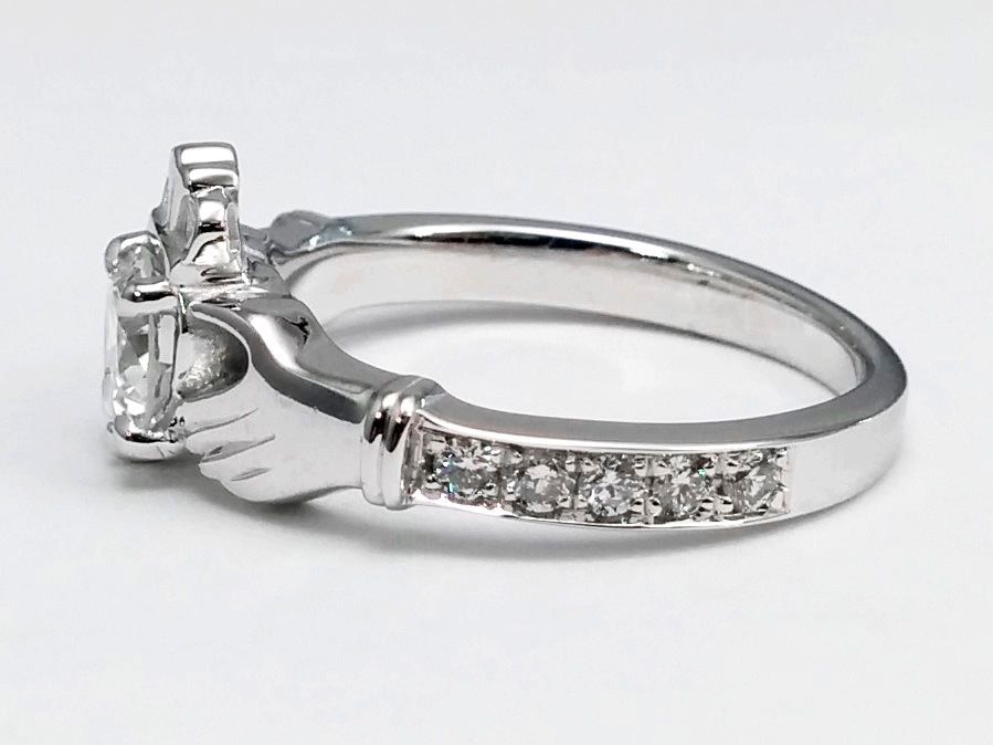 Round Diamond Claddagh Engagement Ring