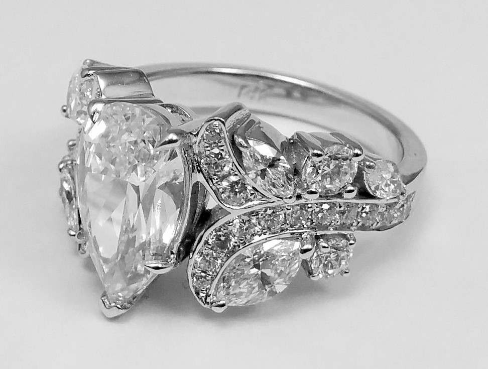 Large Pear Diamond Vine Vintage Engagement Ring 1.45 tcw