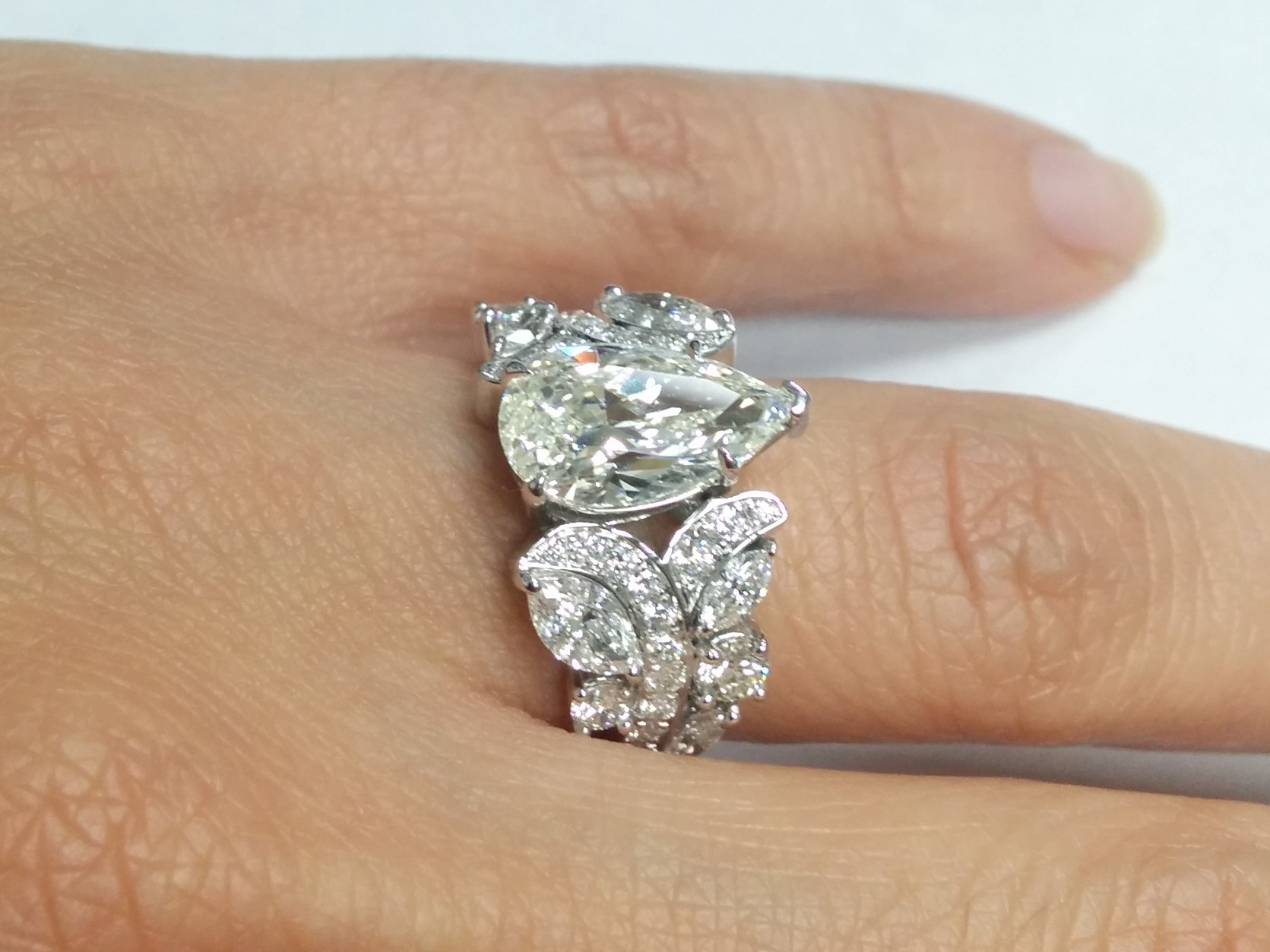 Large Pear Diamond Vine Vintage Engagement Ring 1.45 tcw in 14K White Gold